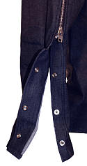 Denim Motorcycle Chaps - Blue with Buckle Front Closure and Snap Sides