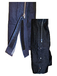 Denim Motorcycle Chaps - Snap or Velcro Side Closures