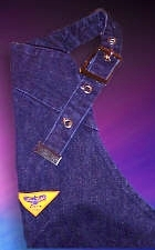 Zone Tailed Denim - Blue Denim Motorcycle Chaps